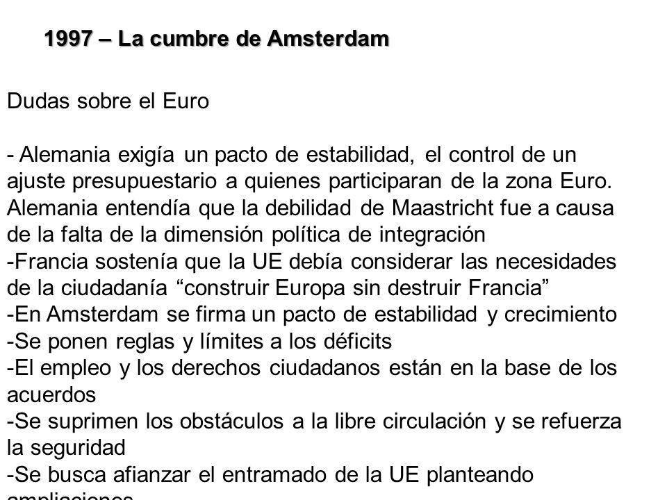 1997 – La cumbre de Amsterdam Dudas sobre el Euro - Alemania exigía un pacto de estabilidad, el control de un ajuste presupuestario a quienes particip
