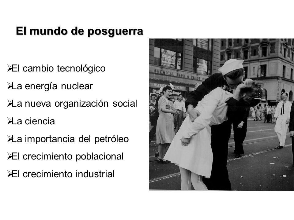 El mundo de posguerra El cambio tecnológico La energía nuclear La nueva organización social La ciencia La importancia del petróleo El crecimiento pobl