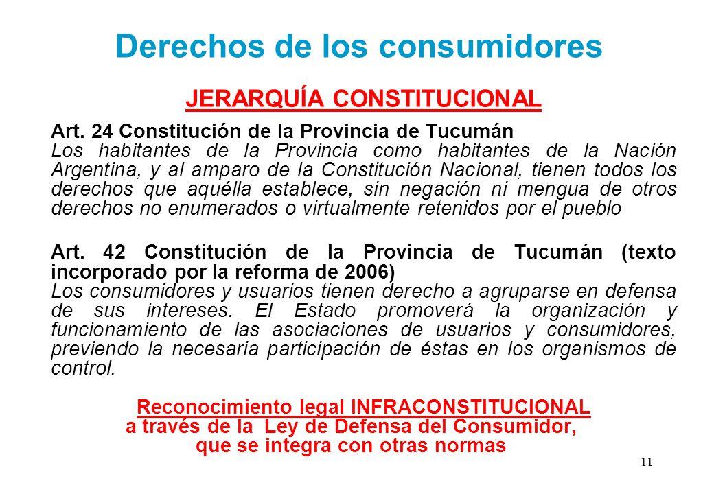 JERARQUÍA CONSTITUCIONAL Art. 24 Constitución de la Provincia de Tucumán Los habitantes de la Provincia como habitantes de la Nación Argentina, y al a