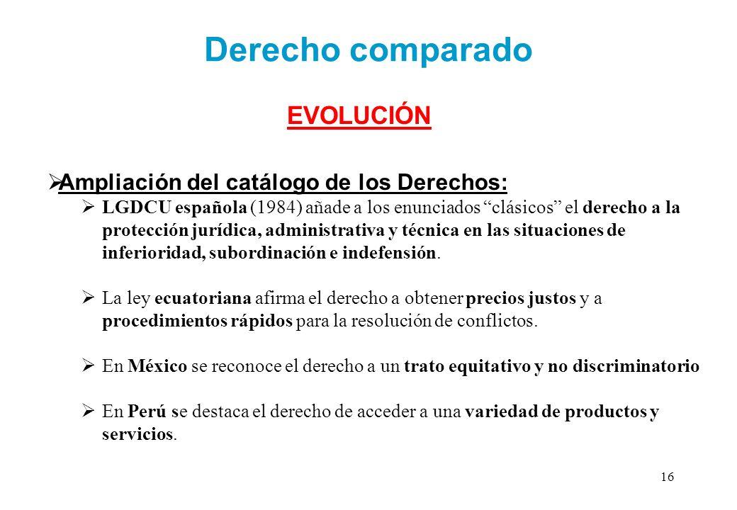 Derecho comparado EVOLUCIÓN Ampliación del catálogo de los Derechos: LGDCU española (1984) añade a los enunciados clásicos el derecho a la protección