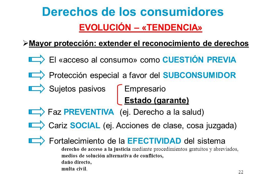 Mayor protección: extender el reconocimiento de derechos Derechos de los consumidores El «acceso al consumo» como CUESTIÓN PREVIA Protección especial
