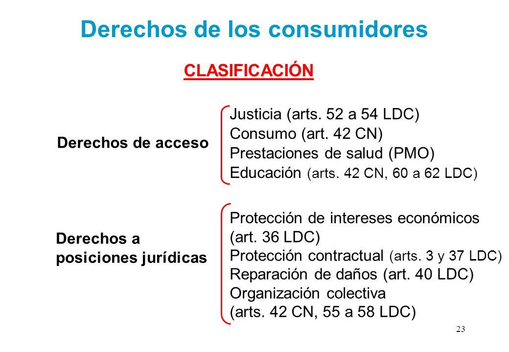 Derechos de los consumidores CLASIFICACIÓN Derechos de acceso Educación (arts. 42 CN, 60 a 62 LDC) Prestaciones de salud (PMO) Consumo (art. 42 CN) Ju