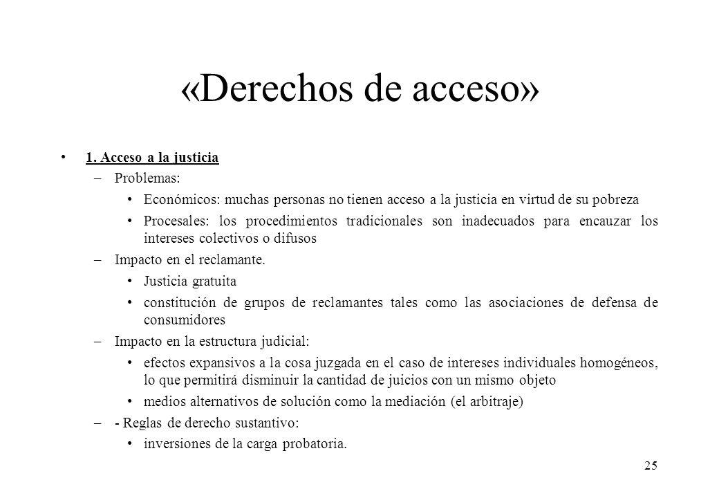 «Derechos de acceso» 1. Acceso a la justicia –Problemas: Económicos: muchas personas no tienen acceso a la justicia en virtud de su pobreza Procesales
