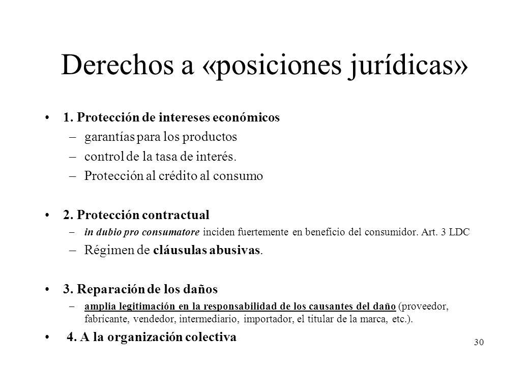 Derechos a «posiciones jurídicas» 1. Protección de intereses económicos –garantías para los productos –control de la tasa de interés. –Protección al c