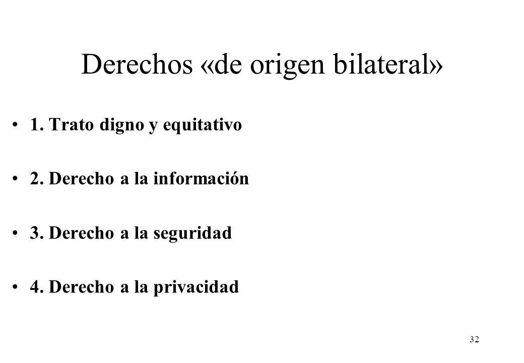 Derechos «de origen bilateral» 1. Trato digno y equitativo 2. Derecho a la información 3. Derecho a la seguridad 4. Derecho a la privacidad 32