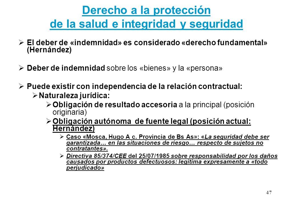 Derecho a la protección de la salud e integridad y seguridad El deber de «indemnidad» es considerado «derecho fundamental» (Hernández) Deber de indemn