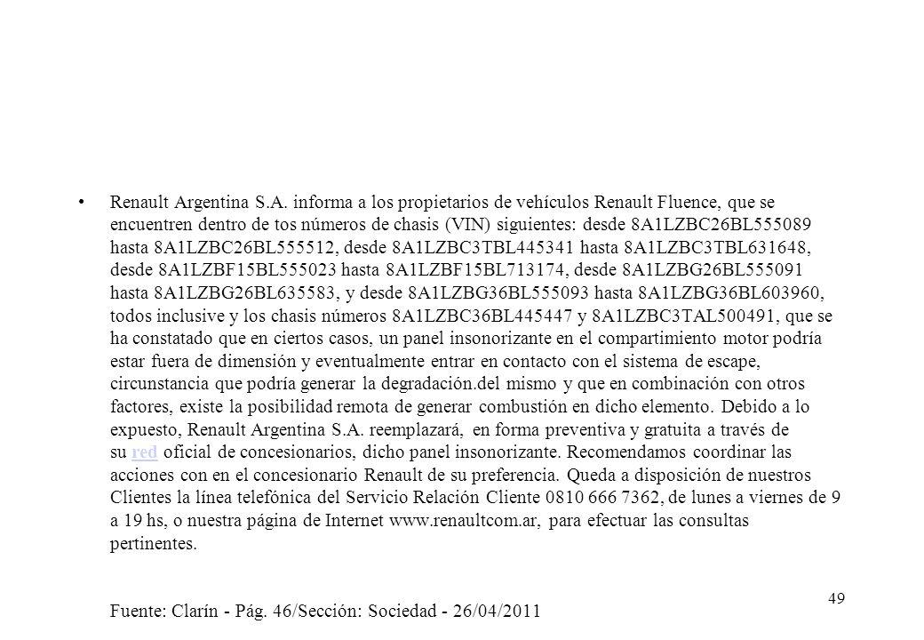 Renault Argentina S.A. informa a los propietarios de vehículos Renault Fluence, que se encuentren dentro de tos números de chasis (VIN) siguientes: de