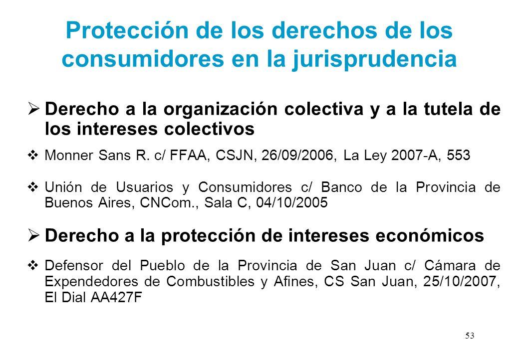 Protección de los derechos de los consumidores en la jurisprudencia Derecho a la organización colectiva y a la tutela de los intereses colectivos Monn