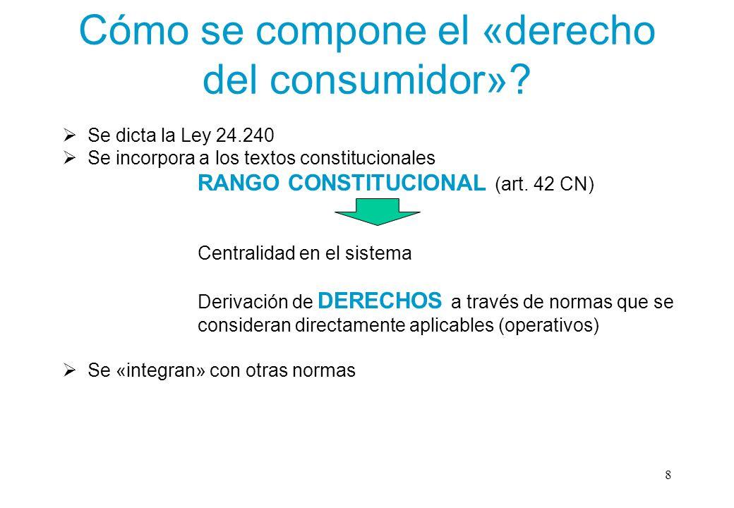 Cómo se compone el «derecho del consumidor»? Se dicta la Ley 24.240 Se incorpora a los textos constitucionales RANGO CONSTITUCIONAL (art. 42 CN) Centr