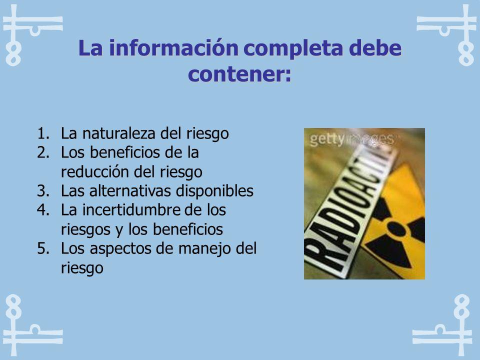 1.La naturaleza del riesgo 2.Los beneficios de la reducción del riesgo 3.Las alternativas disponibles 4.La incertidumbre de los riesgos y los benefici