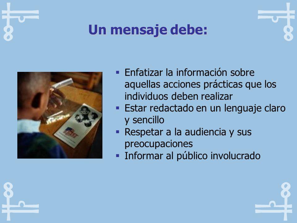 Enfatizar la información sobre aquellas acciones prácticas que los individuos deben realizar Estar redactado en un lenguaje claro y sencillo Respetar