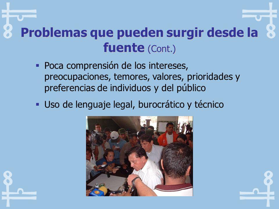 Poca comprensión de los intereses, preocupaciones, temores, valores, prioridades y preferencias de individuos y del público Uso de lenguaje legal, bur