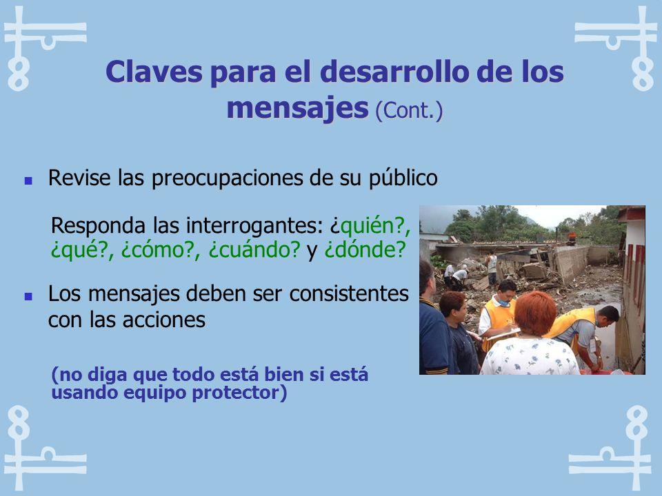 Claves para el desarrollo de los mensajes (Cont.) Revise las preocupaciones de su público Los mensajes deben ser consistentes con las acciones Respond