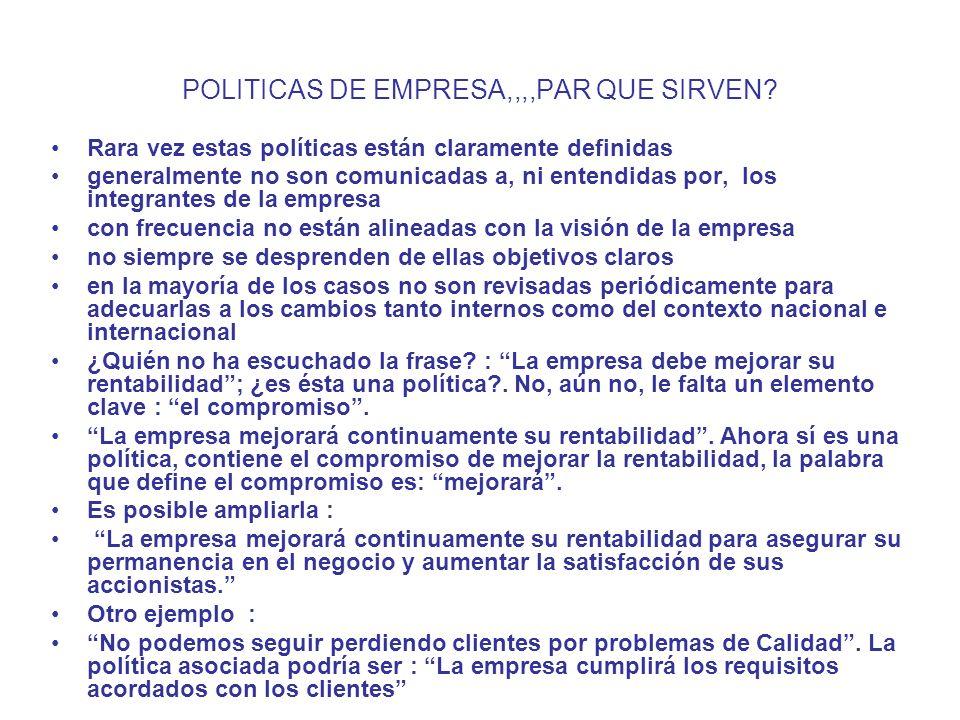 POLITICAS DE EMPRESA,,,,PAR QUE SIRVEN? Rara vez estas políticas están claramente definidas generalmente no son comunicadas a, ni entendidas por, los