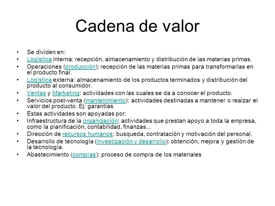 Cadena de valor Se dividen en: Logística interna: recepción, almacenamiento y distribución de las materias primas.Logística Operaciones (producción):