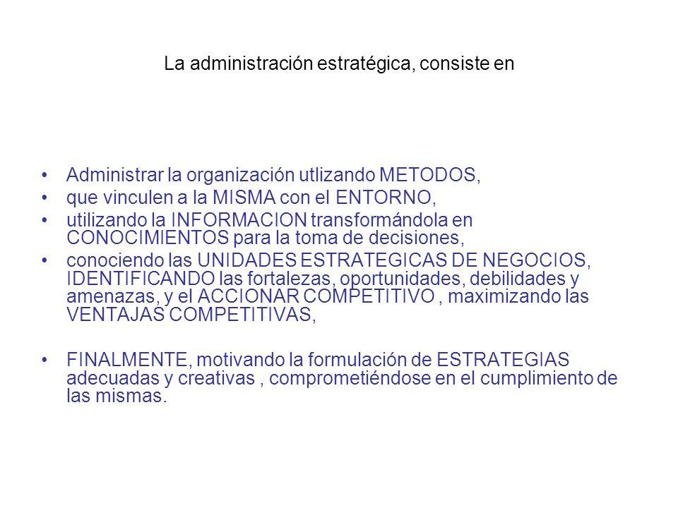 La administración estratégica, consiste en Administrar la organización utlizando METODOS, que vinculen a la MISMA con el ENTORNO, utilizando la INFORM