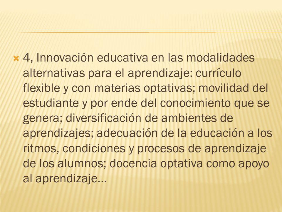 4, Innovación educativa en las modalidades alternativas para el aprendizaje: currículo flexible y con materias optativas; movilidad del estudiante y p