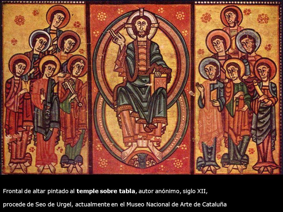 Frontal de altar pintado al temple sobre tabla, autor anónimo, siglo XII, procede de Seo de Urgel, actualmente en el Museo Nacional de Arte de Cataluñ