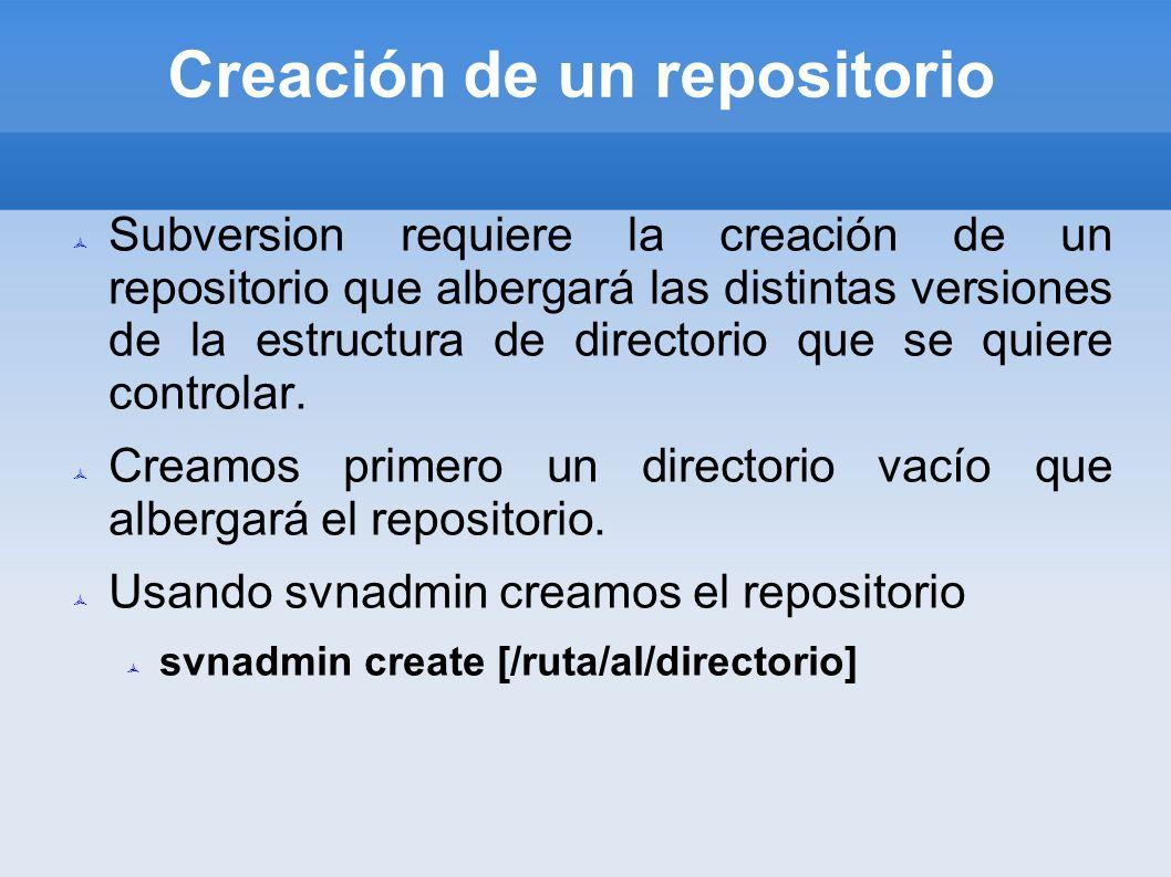 Creación de un repositorio Subversion requiere la creación de un repositorio que albergará las distintas versiones de la estructura de directorio que