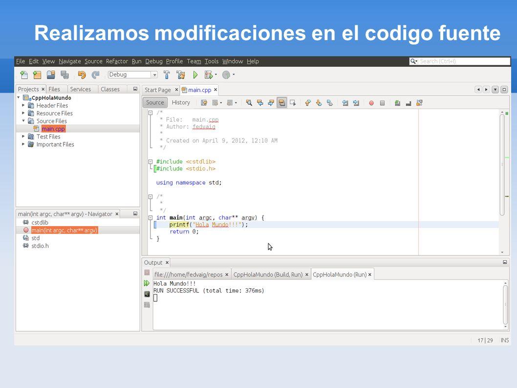 Realizamos modificaciones en el codigo fuente