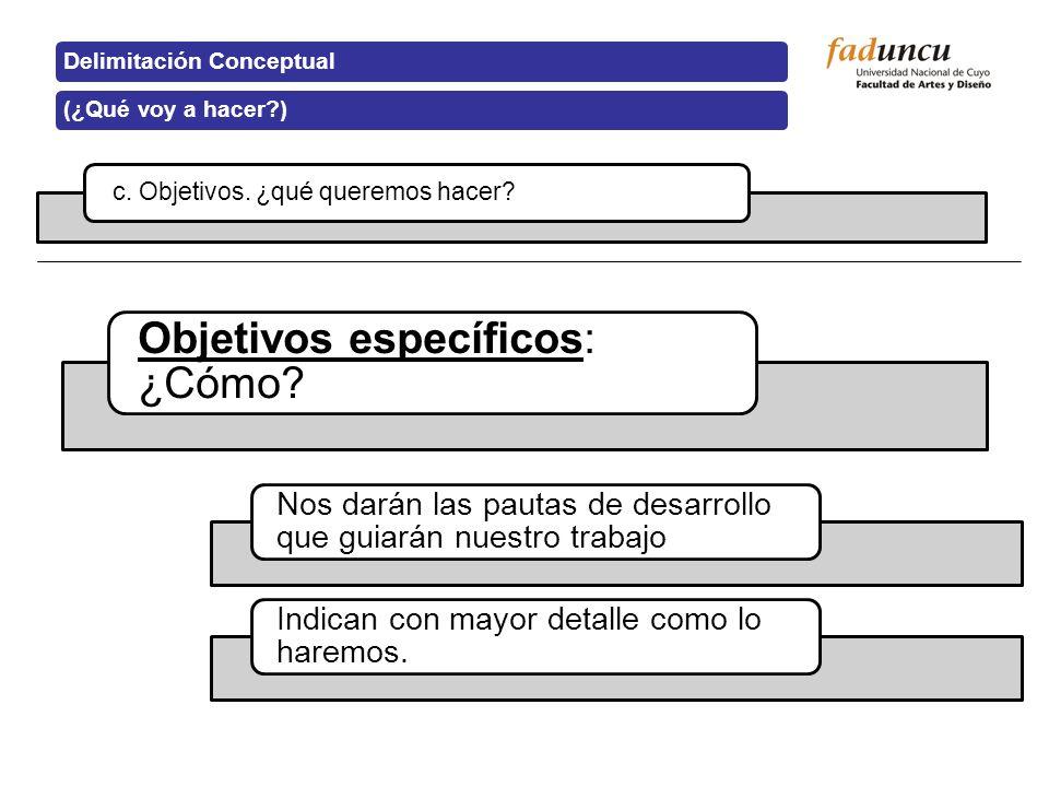 c. Objetivos. ¿qué queremos hacer? Delimitación Conceptual(¿Qué voy a hacer?) Objetivos específicos: ¿Cómo? Nos darán las pautas de desarrollo que gui