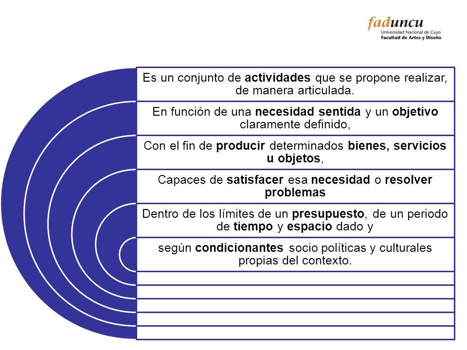 Es un conjunto de actividades que se propone realizar, de manera articulada. En función de una necesidad sentida y un objetivo claramente definido, Co