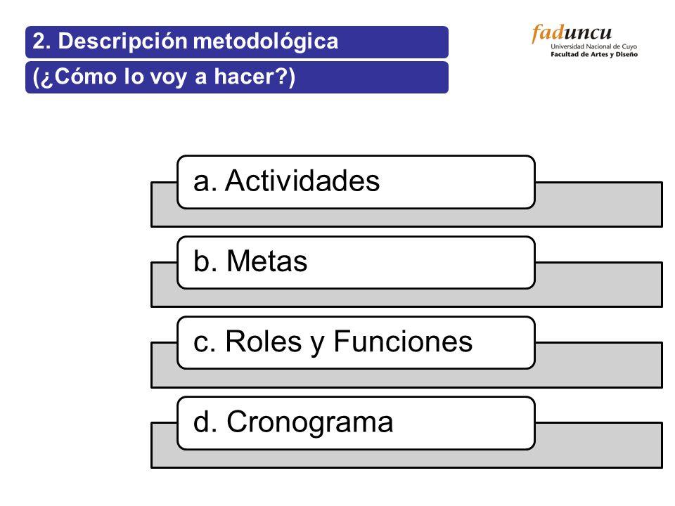2. Descripción metodológica(¿Cómo lo voy a hacer?) a. Actividadesb. Metasc. Roles y Funcionesd. Cronograma