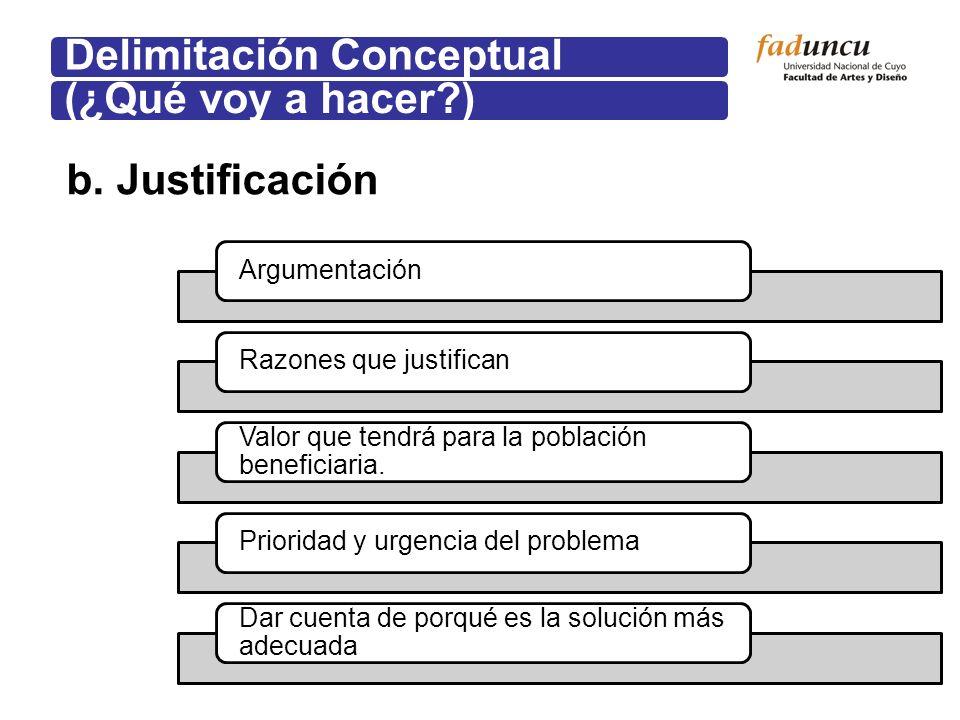b. Justificación Delimitación Conceptual(¿Qué voy a hacer?) ArgumentaciónRazones que justifican Valor que tendrá para la población beneficiaria. Prior