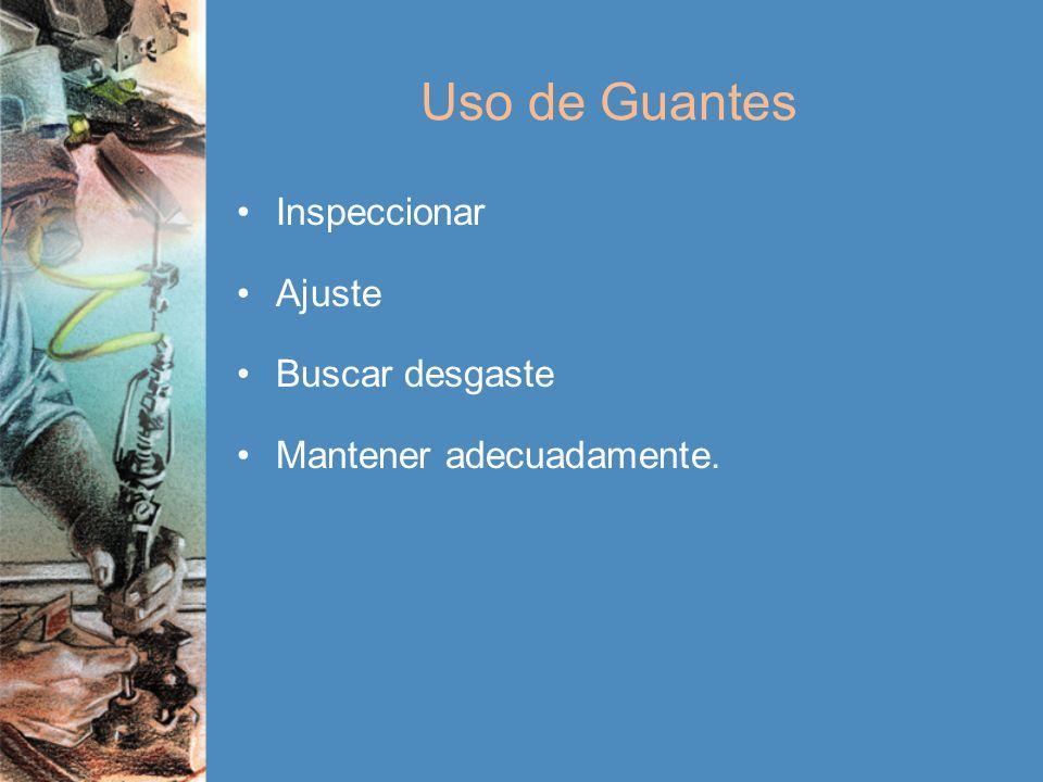 Uso de Guantes Inspeccionar Ajuste Buscar desgaste Mantener adecuadamente.