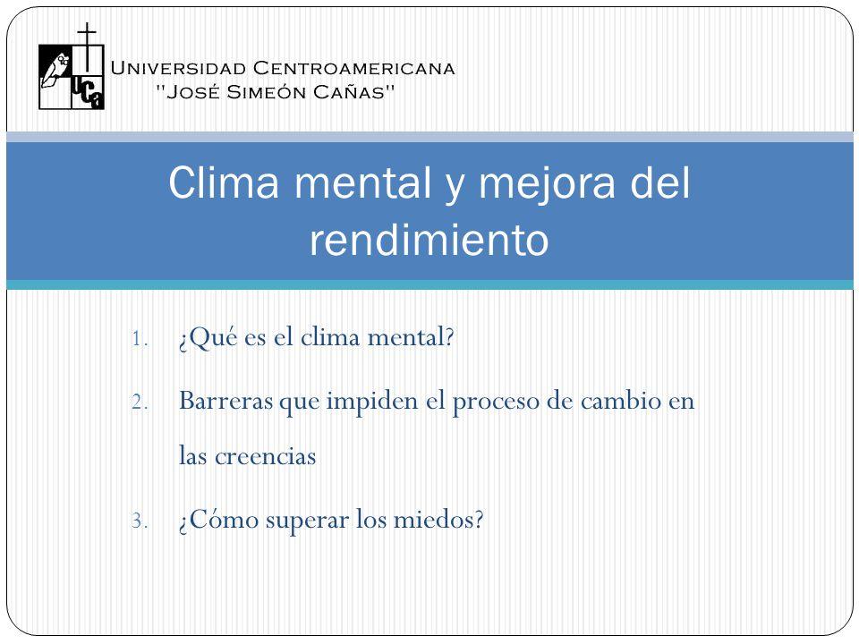1. ¿Qué es el clima mental? 2. Barreras que impiden el proceso de cambio en las creencias 3. ¿Cómo superar los miedos? Clima mental y mejora del rendi