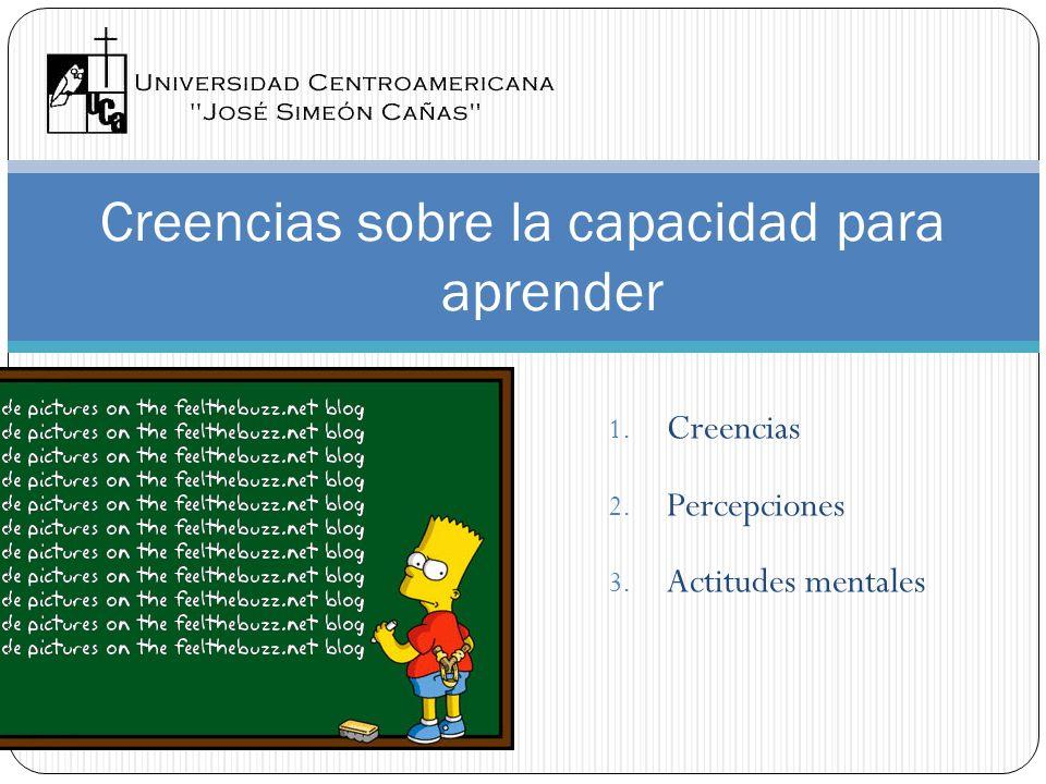1. Creencias 2. Percepciones 3. Actitudes mentales Creencias sobre la capacidad para aprender