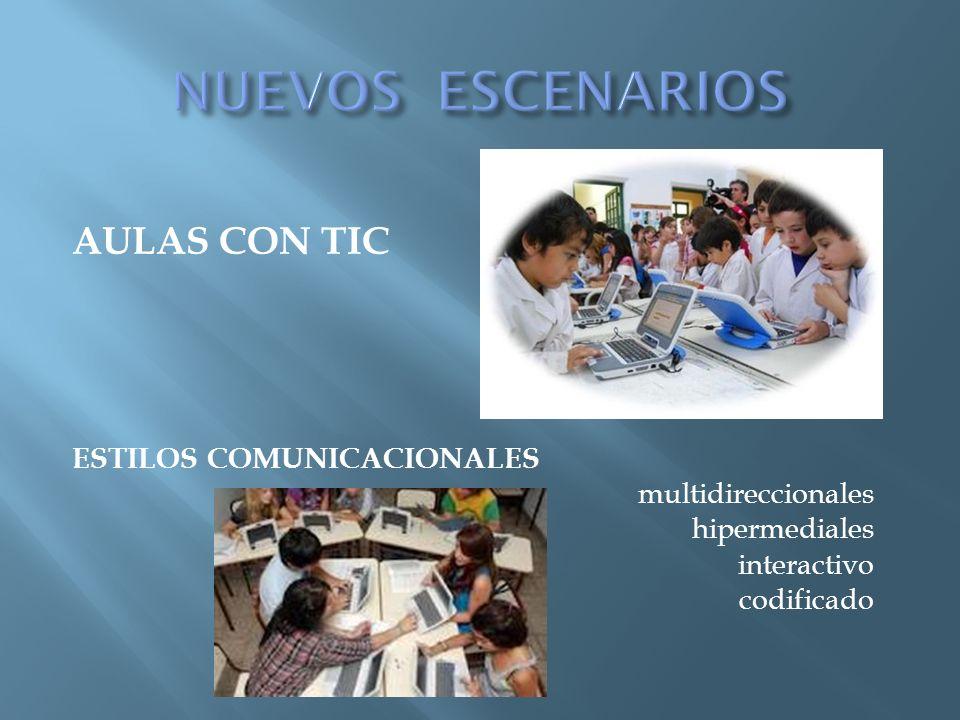 AULAS CON TIC ESTILOS COMUNICACIONALES multidireccionales hipermediales interactivo codificado