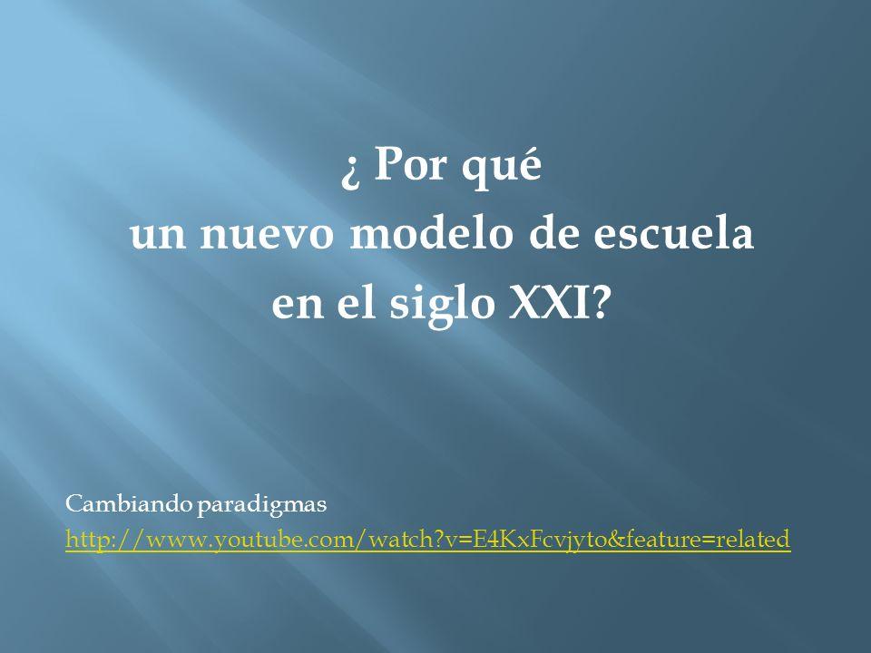 ¿ Por qué un nuevo modelo de escuela en el siglo XXI? Cambiando paradigmas http://www.youtube.com/watch?v=E4KxFcvjyto&feature=related