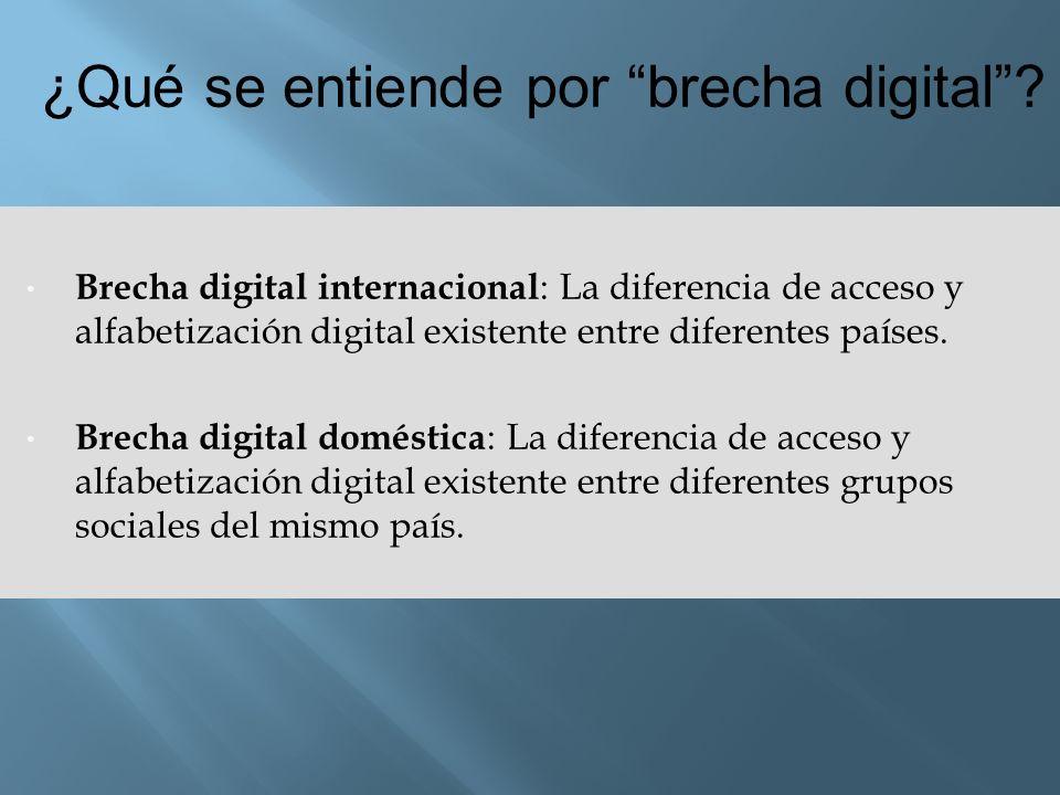 Brecha digital internacional : La diferencia de acceso y alfabetización digital existente entre diferentes países. Brecha digital doméstica : La difer