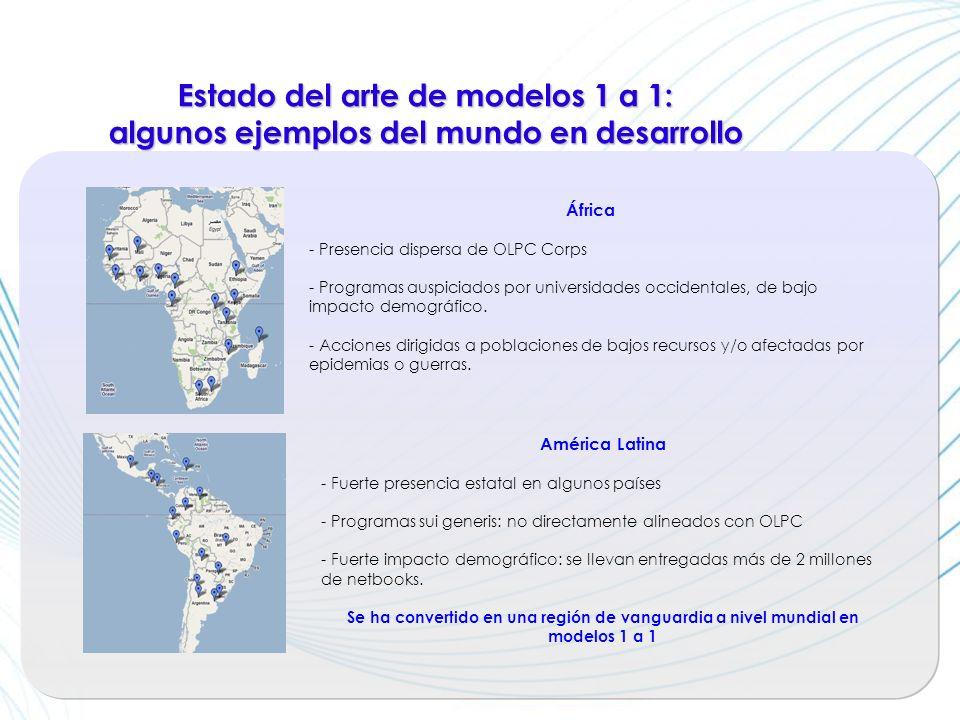 Estado del arte de modelos 1 a 1: algunos ejemplos del mundo en desarrollo América Latina - Fuerte presencia estatal en algunos países - Programas sui