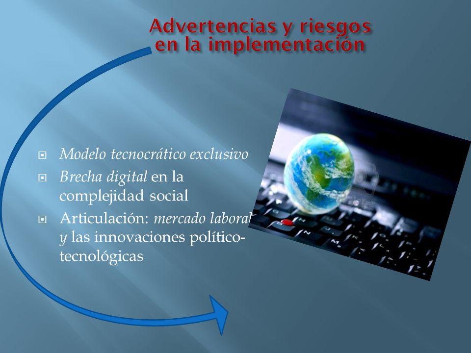 Modelo tecnocrático exclusivo Brecha digital en la complejidad social Articulación: mercado laboral y las innovaciones político- tecnológicas