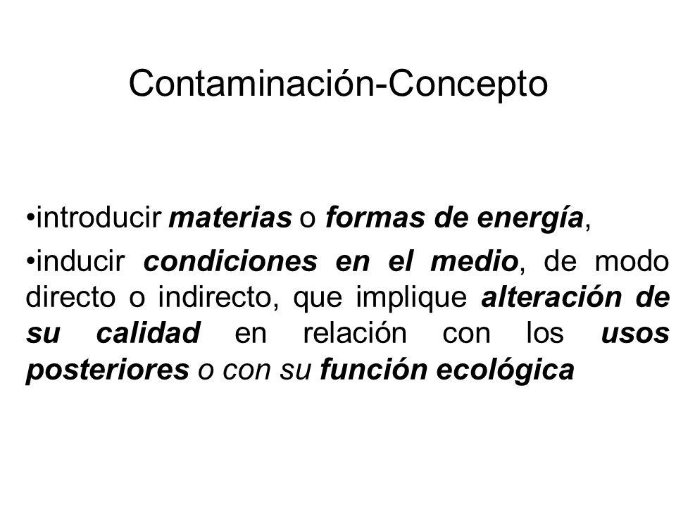 Contaminación-Concepto introducir materias o formas de energía, inducir condiciones en el medio, de modo directo o indirecto, que implique alteración