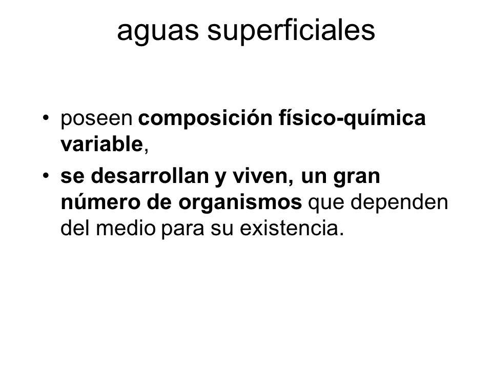 aguas superficiales poseen composición físico-química variable, se desarrollan y viven, un gran número de organismos que dependen del medio para su ex
