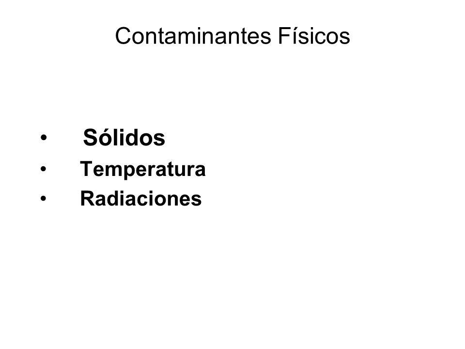 Contaminantes Físicos Sólidos Temperatura Radiaciones