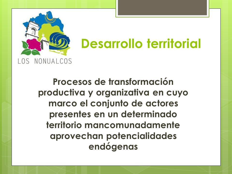 Desarrollo territorial Procesos de transformación productiva y organizativa en cuyo marco el conjunto de actores presentes en un determinado territori
