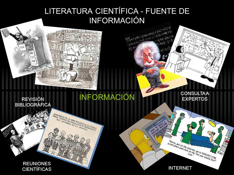 LITERATURA CIENTÍFICA - FUENTE DE INFORMACIÓN INFORMACIÓN REVISIÓN BIBLIOGRÁFICA CONSULTA A EXPERTOS REUNIONES CIENTÍFICAS INTERNET