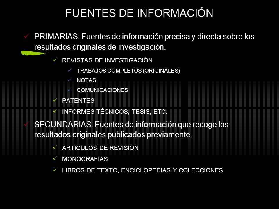 FUENTES DE INFORMACIÓN PRIMARIAS: Fuentes de información precisa y directa sobre los resultados originales de investigación. REVISTAS DE INVESTIGACIÓN