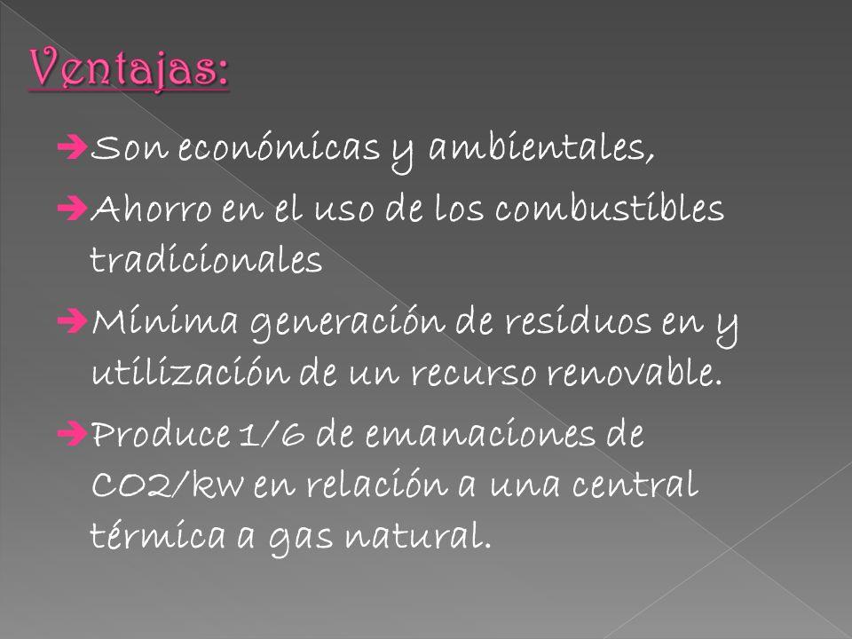 Son económicas y ambientales, Ahorro en el uso de los combustibles tradicionales Mínima generación de residuos en y utilización de un recurso renovabl