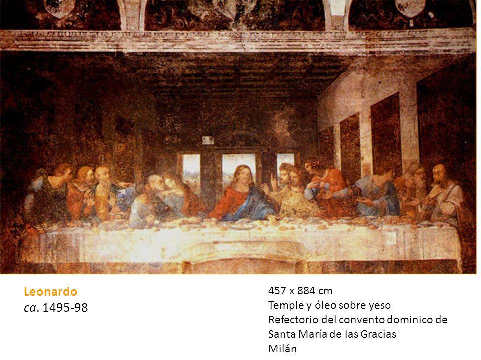 Leonardo ca. 1495-98 457 x 884 cm Temple y óleo sobre yeso Refectorio del convento dominico de Santa María de las Gracias Milán