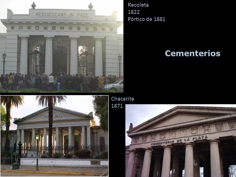 Cementerios Chacarita 1871 Recoleta 1822 Pórtico de 1881