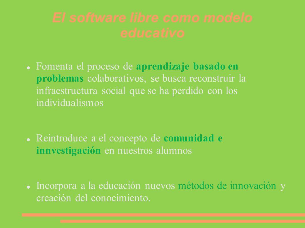 El software libre como modelo educativo Fomenta el proceso de aprendizaje basado en problemas colaborativos, se busca reconstruir la infraestructura s
