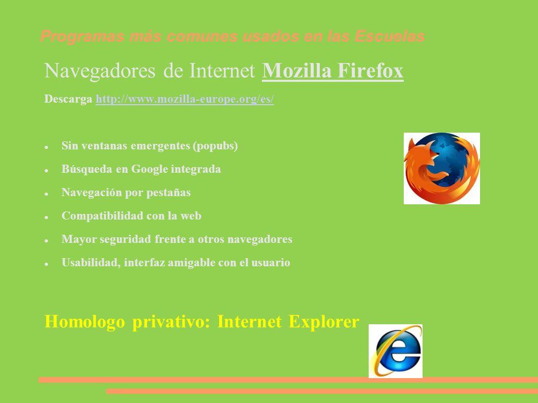 Programas más comunes usados en las Escuelas Navegadores de Internet Mozilla Firefox Descarga http://www.mozilla-europe.org/es/http://www.mozilla-euro