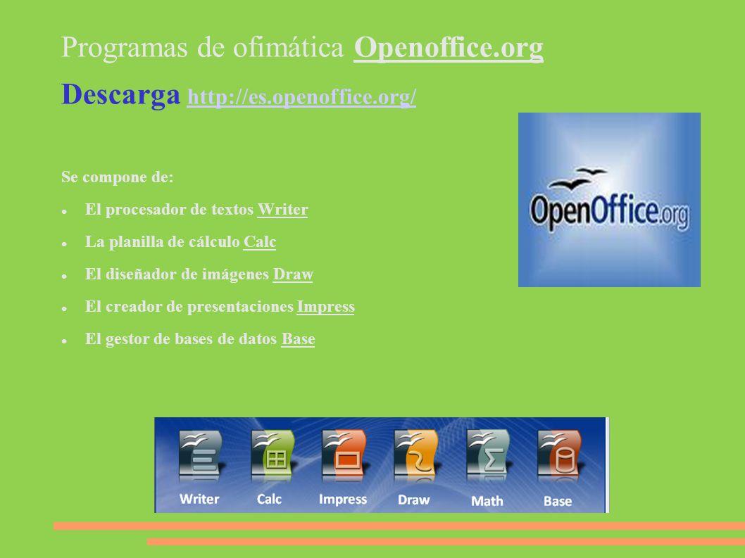 Programas de ofimática Openoffice.org Descarga http://es.openoffice.org/ http://es.openoffice.org/ Se compone de: El procesador de textos Writer La pl