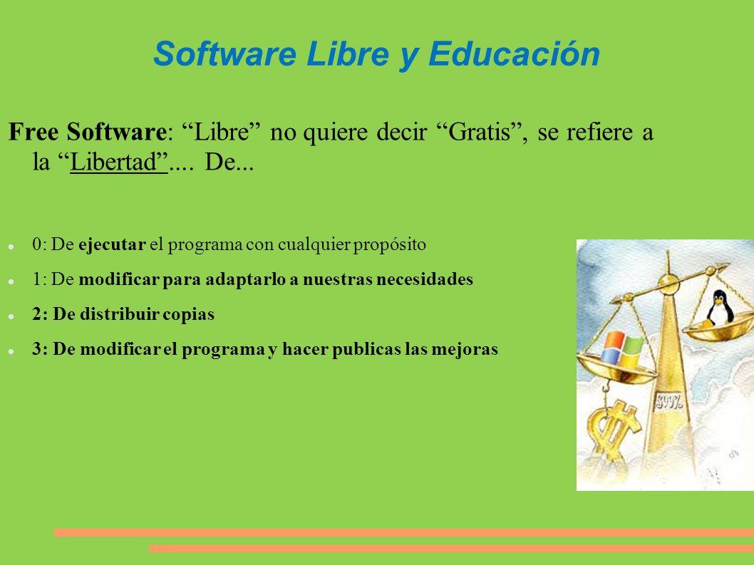 Software Libre y Educación Free Software: Libre no quiere decir Gratis, se refiere a la Libertad.... De... 0: De ejecutar el programa con cualquier pr