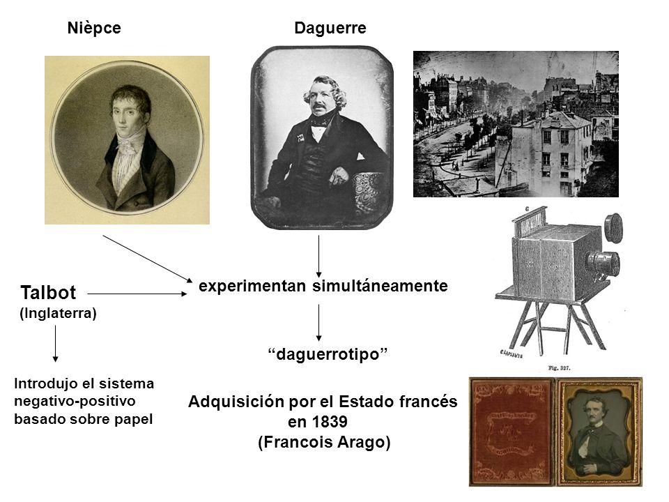 NièpceDaguerre experimentan simultáneamente daguerrotipo Adquisición por el Estado francés en 1839 (Francois Arago) Talbot (Inglaterra) Introdujo el sistema negativo-positivo basado sobre papel